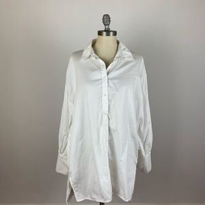 Free People White Oversized Button Down